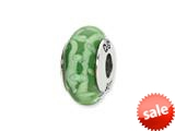 Reflections™ Sterling Silver Green/White Hand-blown Glass Bead / Charm