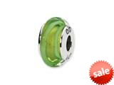 Reflections™ Sterling Silver Lt. Green Hand-blown Glass Bead / Charm style: QRS1325