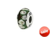 Reflections™ Sterling Silver Green/Purple Floral Hand-blown Glass Bead / Charm style: QRS1326