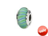Reflections™ Sterling Silver Green/Blue Swirl Hand-blown Glass Bead / Charm style: QRS1327