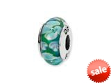 Reflections™ Sterling Silver Blue/White Floral Hand-blown Glass Bead / Charm