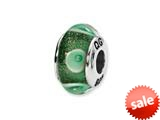 Reflections™ Sterling Silver Green/White Circles Hand-blown Glass Bead / Charm