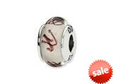 Reflections™ Sterling Silver White/Plum Scribbles Hand-blown Glass Bead / Charm style: QRS1330