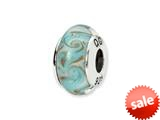 Reflections™ Sterling Silver White/Blue Swirl Hand-blown Glass Bead / Charm style: QRS1333