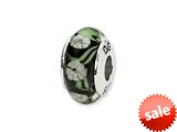 Reflections™ Sterling Silver Black/White Floral Hand-blown Glass Bead / Charm style: QRS1335