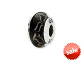 Reflections™ Sterling Silver Black/Copper Swirl Hand-blown Glass Bead / Charm style: QRS1337
