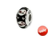 Reflections™ Sterling Silver Black/Purple Floral Hand-blown Glass Bead / Charm
