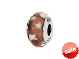 Reflections™ Sterling Silver Red/White Stars Hand-blown Glass Bead / Charm style: QRS1339
