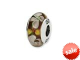 Reflections™ Sterling Silver White/Orange Floral Hand-blown Glass Bead / Charm style: QRS1343