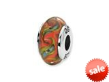 Reflections™ Sterling Silver Red/Teal Swirl Hand-blown Glass Bead / Charm style: QRS1350