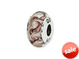 Reflections™ Sterling Silver White/Mauve Swirl Hand-blown Glass Bead / Charm style: QRS1351