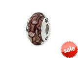Reflections™ Sterling Silver White/Purple Hand-blown Glass Bead / Charm