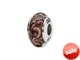 Reflections™ Sterling Silver Purple Swirl Hand-blown Glass Bead / Charm style: QRS1356