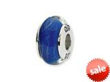 Reflections™ Sterling Silver Blue/White Scribble Hand-blown Glass Bead / Charm style: QRS1359
