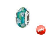 Reflections™ Sterling Silver Blue Floral Hand-blown Glass Bead / Charm style: QRS1360