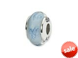 Reflections™ Sterling Silver White/Blue Scribble Hand-blown Glass Bead / Charm style: QRS1364