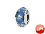 Reflections™ Sterling Silver Blue/White Floral Hand-blown Glass Bead / Charm style: QRS1366
