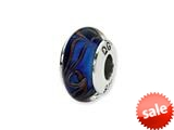 Reflections™ Sterling Silver Blue/Brown Swirl Hand-blown Glass Bead / Charm style: QRS1367