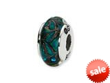 Reflections™ Sterling Silver Blue Hand-blown Glass Bead / Charm style: QRS1369