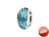 Reflections™ Sterling Silver Blue/Black Scribble Hand-blown Glass Bead / Charm