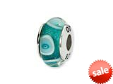 Reflections™ Sterling Silver Blue/White Circles Hand-blown Glass Bead / Charm style: QRS1373