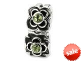 Reflections™ Sterling Silver Green CZ Connector Bead / Charm style: QRS140