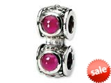 Reflections™ Sterling Silver Red CZ Connector Bead / Charm style: QRS146