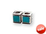 Reflections™ Sterling Silver Turquoise CZ Connector Bead / Charm style: QRS148