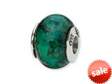 Reflections™ Sterling Silver Blue GreenRecon Serpentine Stone Bead / Charm
