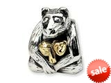 Reflections™ Sterling Silver and 14k Mama and Baby Bear Bead / Charm style: QRS261