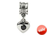 Reflections™ Sterling Silver Black CZ Heart Dangle Bead / Charm style: QRS550