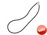 Reflections Sterling Silver Black Leather Bead Necklace 18.00 inches