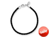 Reflections Sterling Silver Black Leather Lobster Clasp Bead Bracelet 6.25 inches style: QRS983-6.25