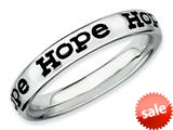 Stackable Expressions Sterling Silver Polished Enameled Hope Stackable Ring