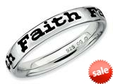 Stackable Expressions Sterling Silver Polished Enameled Faith Stackable Ring