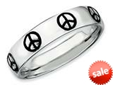 Stackable Expressions Sterling Silver Polished Enameled Peace Sign Stackable Ring