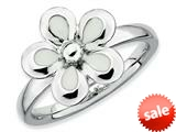 Stackable Expressions Sterling Silver Polished White Enameled Flower Stackable Ring
