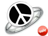 Stackable Expressions Sterling Silver Polished Black Enameled Peace Sign Stackable Ring