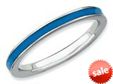 Stackable Expressions Sterling Silver Blue Enameled 2.25mm Stackable Ring style: QSK142