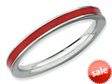 Stackable Expressions Sterling Silver Red Enameled 2.25mm Stackable Ring