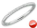 Stackable Expressions Sterling Silver Rhodium Twisted Stackable Ring style: QSK175