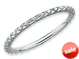 Stackable Expressions Sterling Silver Rhodium Criss-cross Stackable Ring style: QSK187