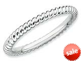 Stackable Expressions Sterling Silver Rhodium Twisted Stackable Ring