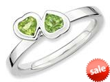 Stackable Expressions Sterling Silver Peridot Double Heart Stackable Ring style: QSK405