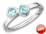 Stackable Expressions Sterling Silver Db Cushion Cut Aquamarine Stackable Ring
