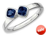 Stackable Expressions Sterling Silver Db Cushion Cut Created Sapphire Stackable Ring style: QSK418