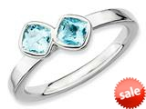 Stackable Expressions Sterling Silver Db Cushion Cut Blue Topaz Stackable Ring