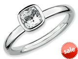 Stackable Expressions Sterling Silver Cushion Cut White Topaz Stackable Ring style: QSK449