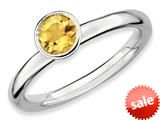Stackable Expressions Sterling Silver High 5mm Round Citrine Stackable Ring style: QSK480