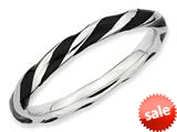 Stackable Expressions Sterling Silver Twisted Black Enameled Stackable Ring style: QSK554